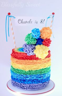 Rainbow Rufflicious Birthday Cake by Blissfully Sweet (7/12/2012)  View cake details here: http://cakesdecor.com/cakes/21345
