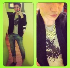 Boyfriend Jeans - Zara | Graphic Tank - Bluenotes Mens | Sweater - Loft | Necklace - Target