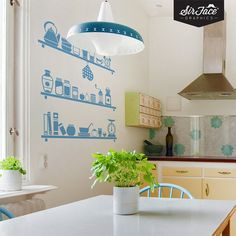 Scandinavian Kitchen Shelves Wall Decal  by SirFaceGraphics, £22.99