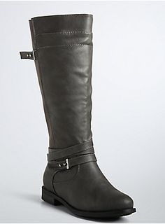 <p>Grey faux-leather creates a moto-vibe for these tall boots. Multiple straps (detailed with sleek silver tone embellishments) wrap around the ankle for a contemporary touch. Stretch gore panels make the style easy to slip on and will keep you comfy all day.</p>