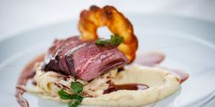 Venison loin is a princely cut, and is beautifully complemented by a celeriac remoulade, pomme Maxine and juniper jus
