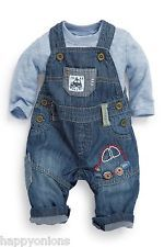 Next Boys UP1 3-6 Blue Car Dungarees Long Sleeve Stripe Bodysuit Outfit Set