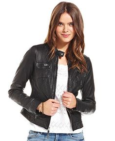 Lucky Brand Jeans Carson Perforated Leather Jacket - Jackets & Blazers - Women - Macy's