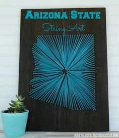 Great idea for DIY string art with a university flair.