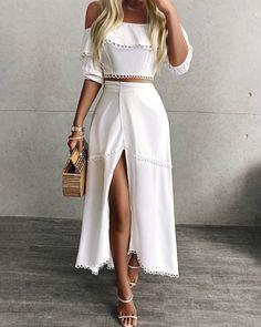 Off Shoulder Scallop Trim Top & Slit Skirt Set Trend Fashion, Womens Fashion, Fashion Styles, White Off Shoulder Top, Off Shoulder Top Outfit, Dress Suits, Dresses, Slit Skirt, Summer Outfits