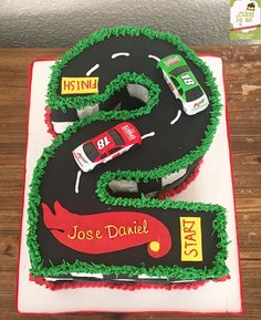 Number 2 Race Cars Cake  By Cakesbyme