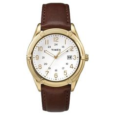 Men's Timex Watch with Leather Strap - Gold/Brown TW2P766009J