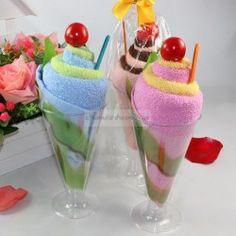 Toalla en forma de copa de helado