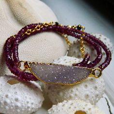 Use with lg bead...  Druzy bracelet/necklace