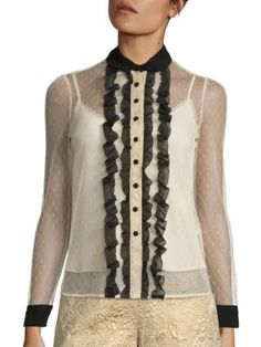 RED VALENTINO Ruffled Lace Blouse. #redvalentino #cloth #blouse