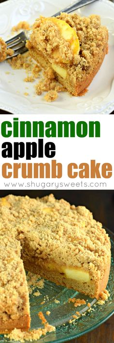 Sweet Cinnamon Apple Crumb Cake with a dense layer of cake, cinnamon apple filling and topped with a crunchy cinnamon streusel! The perfect breakfast! Apple Recipes, Baking Recipes, Cake Recipes, Dessert Recipes, Cinnamon Recipes, Brunch Recipes, Breakfast Recipes, Macaron Cake, Cupcake Cakes