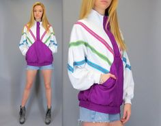 Vintage 80s 90s Pullover Windbreaker Bomber Sweatshirt Top Shirt Purple Pink Blue Green Stripe Neon Hip Hop Fresh Prince of Bel Air Hipster by BlueFridayVintage