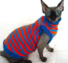 Made from breathable, soft stretch fabrics. Sphynx: Length: Up to 13-14 inches long. Tummy: Up to 14-15 inches around. Weight: Up to 10-11 pounds. These are only estimated sizes. Sizes vary by material.