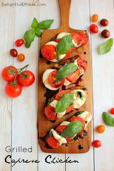One seriously amazing grilled chicken recipe! This Caprese Chicken includes fresh tomatoes, basil and mozzarella topped on balsamic vinaigrette marinated chicken breasts, and grilled to perfection. Done and on the table in 25 minutes! Balsamic Chicken Marinades, Balsamic Grilled Chicken, Caprese Chicken, Grilled Chicken Recipes, Easy Chicken Recipes, Pork Recipes, Healthy Recipes, Marinated Chicken, Turkey Recipes