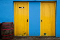 Colorful toilet doors in the Burren. County Clare, Ireland