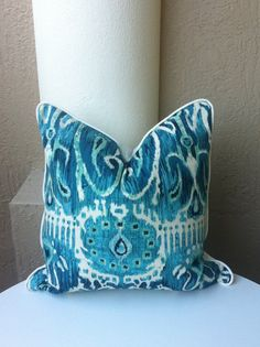 Turquoise Pillow.Duralee Cuervo II Pool by LuxDesignsFlorida