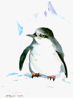 Cute Penguin  original watercolor painting by ORIGINALONLY on Etsy