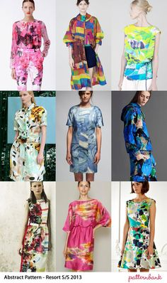 Catwalk Print Trends   Cruise / Resort Pre Spring/Summer 2013 Oil Paint Expression – Marbling and Mineral pattern references – Movement Lines – Unexpected Bright