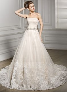 A-Line/Princess Sweetheart Court Train Tulle Wedding Dress With Beading Appliques Lace Sequins (002056608)