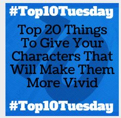 Forget about hair color and broad shoulders and kissable lips.The best stories have characters that are complex, well drawn and have such interesting inner and outer struggles that readers can't help but be fascinated by them.  There are hundreds of ways to develop character, from figuring out their favorite ice cream flavors to starting … Continue reading #Top10Tuesday Top 20 Things To Give Your Characters That Will Make Them More Vivid →