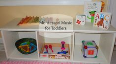 Montessori Toddler Shelves for Music by Kim Huff at Montessori on a Budget - Easy Pin Maria Montessori, Montessori Toddler, Montessori Activities, Toddler Learning, Infant Activities, Toddler Preschool, Teaching Kids, Learning Music, Toddler Classroom