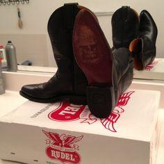 ☀ SALE Black western Rudel cowboy boots Sz 6 Very cute black calf high pointed toe Rudel cowboy boots. Shoes