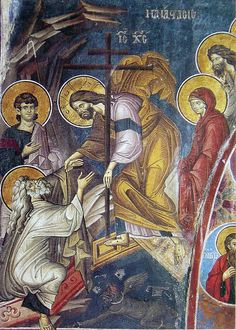 Christ raising the dead and the harrowing of hell From Vatopaidi Monastery, Mount Athos Byzantine Icons, Byzantine Art, Religious Icons, Religious Art, Holy Saturday, Christian Artwork, Religion Catolica, Christian World, Life Of Christ