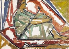 ✽    vanessa bell   -   'girl by a tent'  -   oil on board  -  sothebys