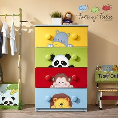 The Fantasy Fields Sunny Safari 5 Drawer Cabinet is a fun storage solution for your child's small knick knacks and toys, from art supplies to puzzles. This small, and dresser features a safari menagerie: a parrot enjoying the foliage of a palm tree Baby Boy Rooms, Baby Bedroom, Baby Room Decor, Kids Bedroom, Baby Furniture, Painted Furniture, Furniture Ideas, Children Furniture, Safari Nursery