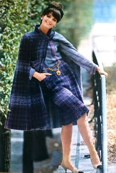 Purple and blue plaid wool tweed day-ensemble by Chanel.Jours de France August 1964