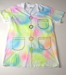 """Use ADULT SIZED shirts as """"Lab coats"""". Maybe cut up the middle?"""