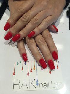 Acrylic Full Set W/ W/ Red Polish