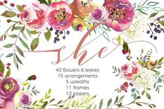 She-Watercolor Floral Design Set by whiteheartdesign on @creativemarket