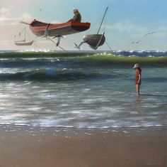 Above the Waves by Jimmy Lawlor Original Artwork, Original Paintings, Surrealism Painting, Irish Art, Artwork Images, International Artist, Surreal Art, Acrylic Art, Love Art