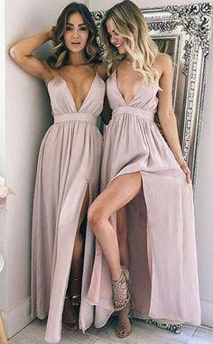 Simple Prom Dress, Cheap Prom Dress,Sexy Chiffon Prom Dresses, High Slit Sleeveless Evening Party Dress