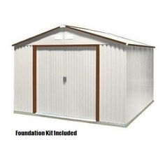 Duramax Sheds 50434 - 10x10 Del Mar Metal Shed with Foundation Kit in Brown Trim