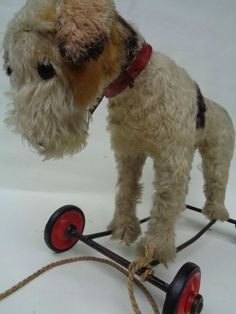 Antique Steiff Dog Fox Terrier on Wheels 1950s Pull Behind Mohair Fur w Button | eBay