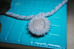 Agate cabochon White seed beads necklace  Pendant by NioNia