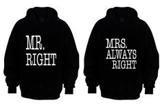 "Couple Matching Hoodies ""Mr Right & Mrs Always Right""  S-XXL - Cute Gift - Movies - TV - Love - Sexy - on Etsy, $48.99"