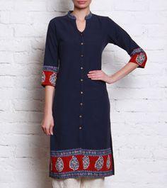 Indigo Printed Khadi Cotton Kurta