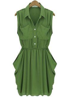 Army Green Twins Pockets Draped Side Chiffon Dress