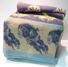 Vintage Cowboy Camp Blanket with Stagecoach by VintageCreekside, $68.00