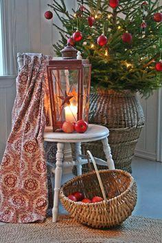 Christmas ☃ Winter Tree, Basket & Red Lantern on White Chair