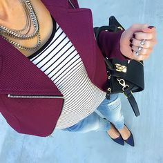 Outfit Planning: Burgundy Jacket 4 Ways | On the Daily EXPRESS