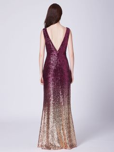 149e5a6a766 Floor Length Ombre Sequin Evening Gown