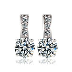 cd9a7b80f Fashion Shining White Cubic Zirconia Stud Earrings For Women Copper Fashion  Party And Daily Wear Jewelry 208003-in Stud Earrings from Jewelry &  Accessories ...