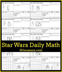 Be sure to grab this FREE Star Wars math pack. This pack includes:   31 pages of printables  Numbers 1 to 31  Math Addition: ten frames, ma