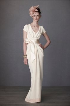 Crepe De Chine Column Gown from BHLDN