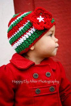 Christmas Striped Crochet Beanie - Christmas Hat Flower Hat Baby Girl Christmas Hat