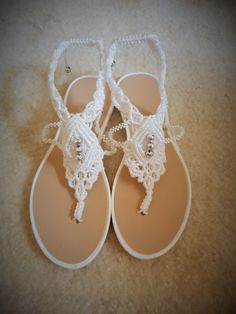 Macrame handmade sandals with seed beads